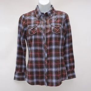 ARIAT Women S Fitted Plaid Western Pearl Snap